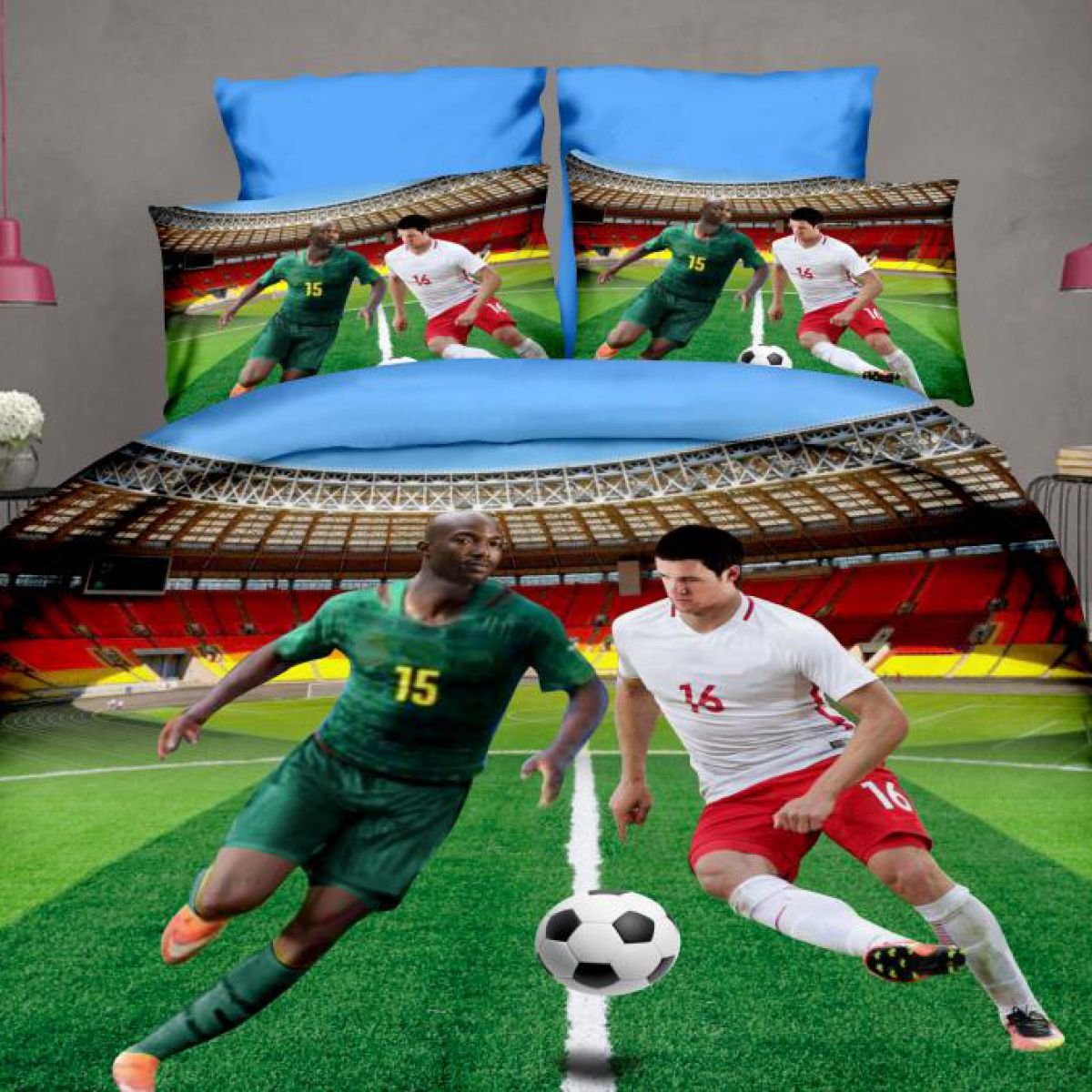 3D Beddings - Febe - Football - FPW-402-01 - 160x200 cm - 4 pcs