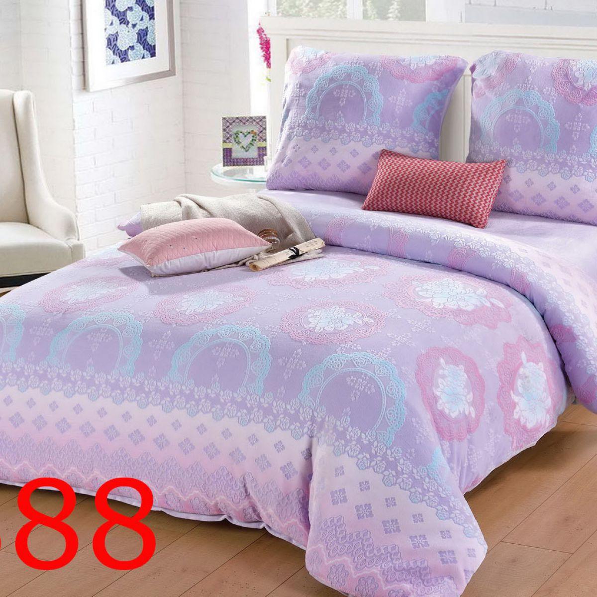 Plush Pressed Beddings - Cotton World - SHL-3808 - 220x200 cm - 3 pcs
